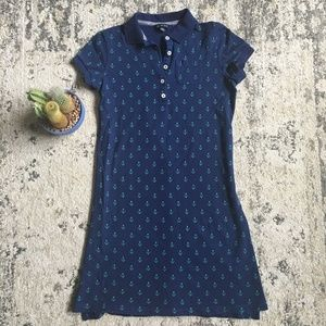 Navy Blue Green Lands End Polo Dress w/ Anchors